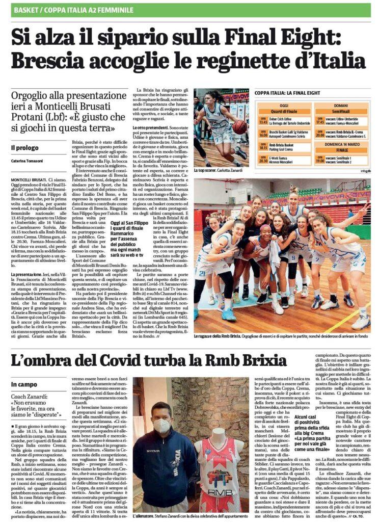 Giornale di Brescia del 12 Marzo 2021